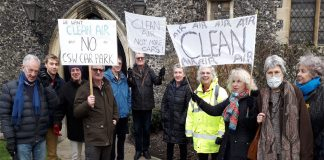 Air quality campaigners outside the Guildhall